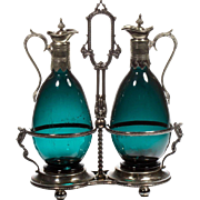 Magnificent PAIR  Antique Claret Jugs in a Silver Holder Stand