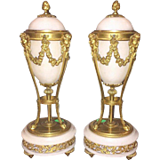 Antique French Marble And Bronze Urns
