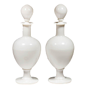 "Antique 14 ¾"" White Opaline Apothecary Bottles ""AWESOME PAIR"""