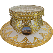 "Napoleon III White Opaline Bowl & Under plate  ""FOUR EGLOMISES""  Exquisite Gilt Ormolu"