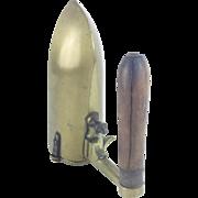 "Antique 8"" French Brass Iron w Wood Handle ""RAREST"""