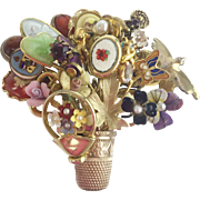 """Vintage Estate Stick Pin Broach"""" Colllection  of Vintage Stick Pins Mounted in a Gold Thimble"""""""