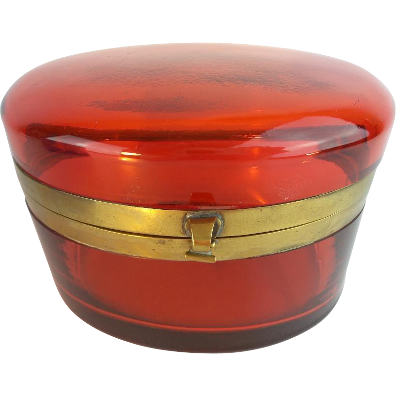 "BIG Antique French Red Crystal Hinged Box   ""Beautiful Color & Stunning Size"""
