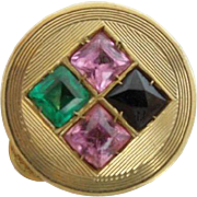 "Jeweled 14KARAT Pill Box ""Blue Topaz, Emerald, &  Pink Sapphires"""