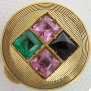 "Jeweled 14KARAT Pill Box ""Blue Topaz, Emerald, &  Pink Sapphires"""
