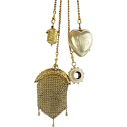"1889 Gilt Silver Jeweled Chatelaine ""Jeweled Belt Clip, Purse, Thimble Holder. Heart & Rare Monocle"""
