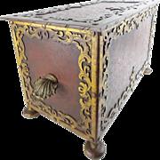 "Antique Painted Metal Hinged Box  ""Shell Handles""  BIG & Beautiful"