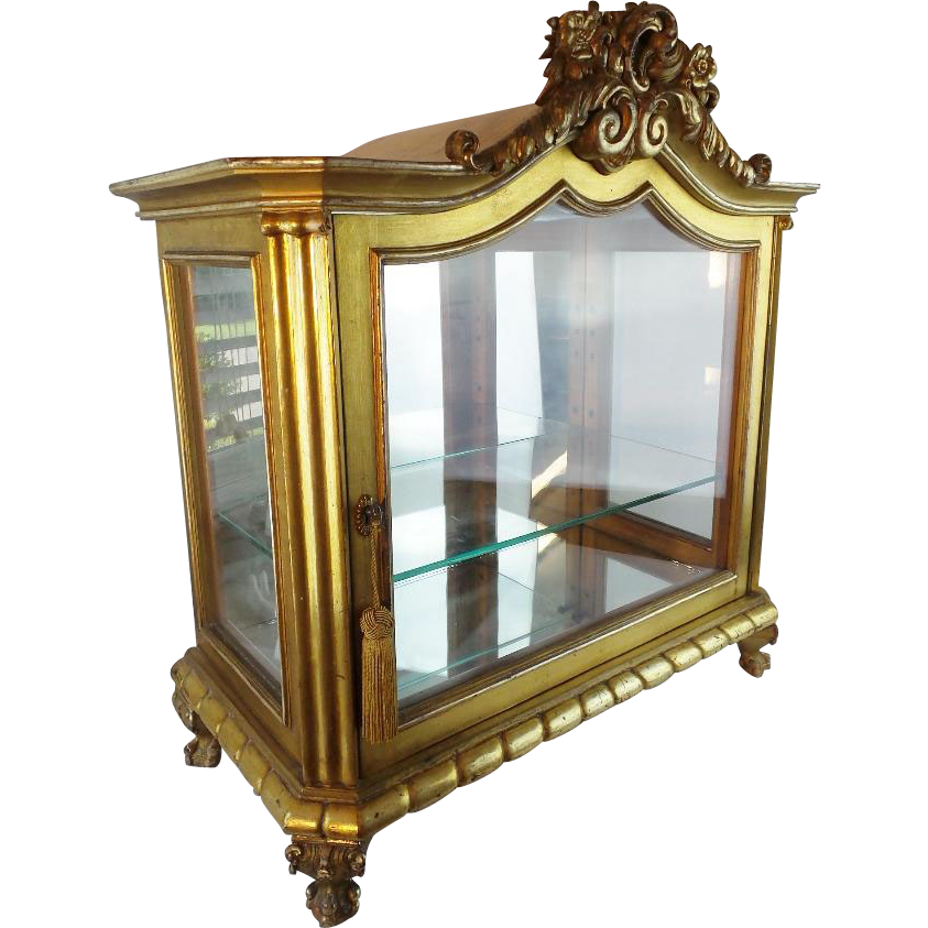 Layaway Antique French Gilt Wood Miniature Vitrine