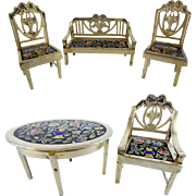 "LAYAWAY Antique Miniature Silver  Enamel 5 Piece Set  ""Settee,Table,Two Chairs, & Arm Chair """