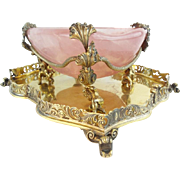 "Antique  Pink Quartz Bowl w Grandest Figural Gilt Silver ""CAVIAR  SWEETMEAT"""