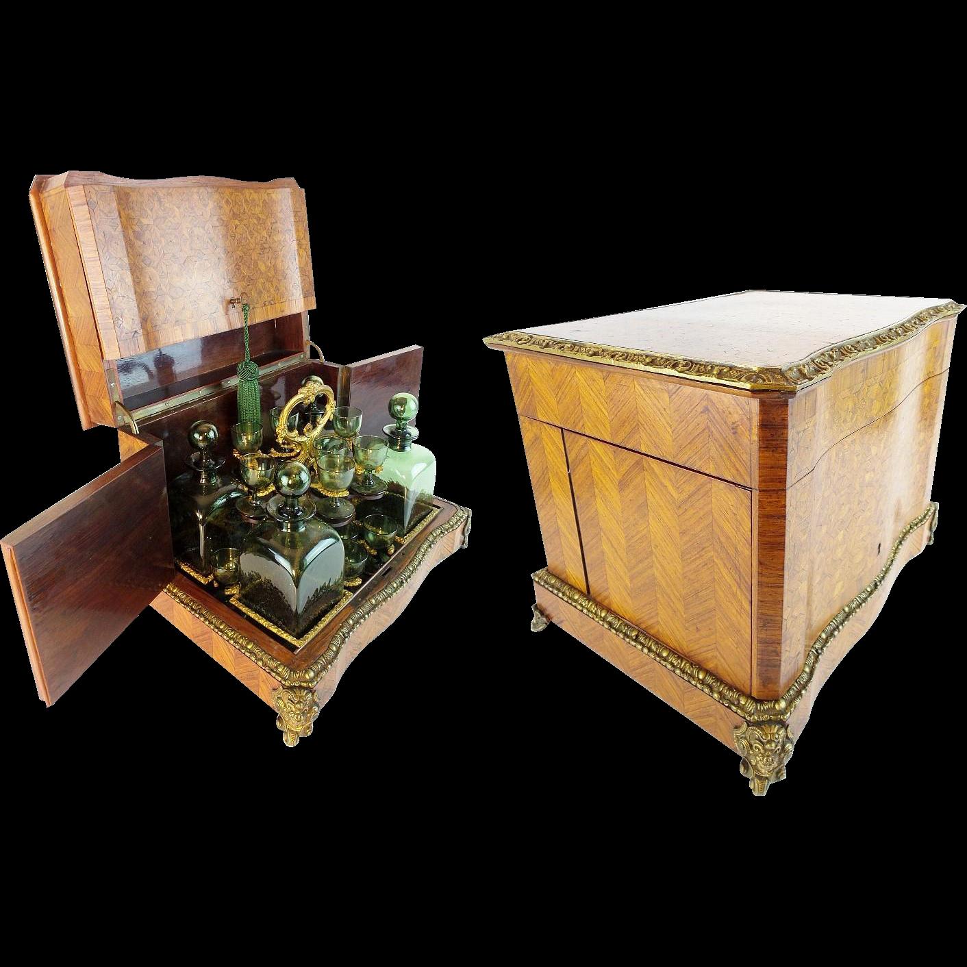 "Antique French Parquetry & Gilt Bronze Cave Liqueur Tantalus "" RARE Green Glasses & Decanters"""