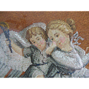 Magnificent Antique Beaded PUTTI and Angel Needlepoint …Framed