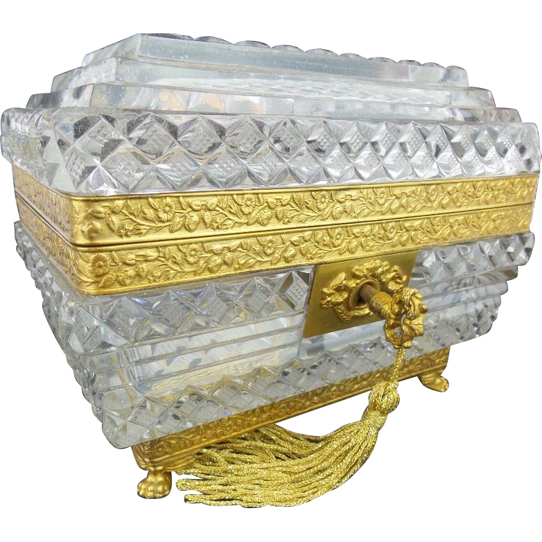 "Antique Baccarat Crystal Casket Hinged Box ""'PAW FEET & RARE CUT"""