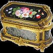 "1850 Julien-Nicolas Rivet Porcelain Marquetry Bronze Casket Hinged Box ""MASTERPIECE """