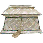 Antique Mother of Pearl Tea Caddy 'THE BEST""
