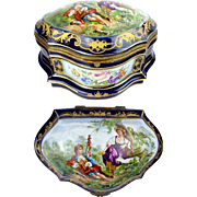 "Antique French Porcelain Artist Signed Casket Hinged  Box  "" Sevres Style & Magnificent Pastoral Scenes"""