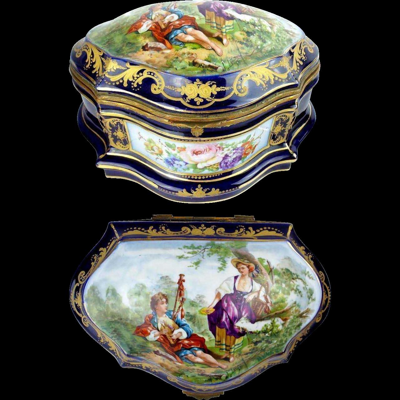 "Antique French Porcelain Artist Signed Casket Hinged  Box  "" Sevres Style & Magnificent Pastoral Scenes"""
