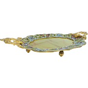 "Antique French Champleve & Green Onyx Footed Tray  ""DOUBLE HANDLES"""