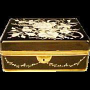 "8"" Antique Bohemian Black Glass Casket Hinged Box"