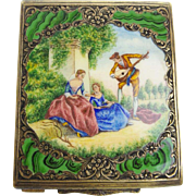 Antique Gilt 800 Silver Engraved Enameled Compact…A BEAUTY! Lovely Pastoral  Scene