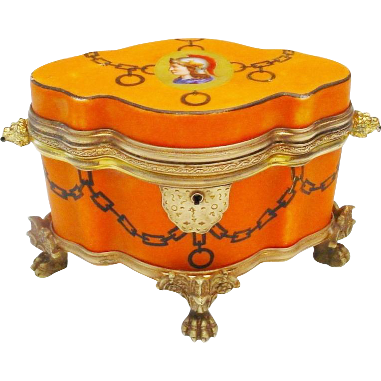 "Antique Bohemian Porcelain Casket Hinged Box "" Exquisite Shape & Figural Double Handles """