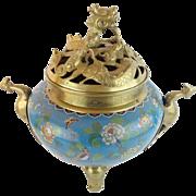 Antique Chinese Cloisonné' Brass Censer…Dragon Form Lid, Bird Handles & Elephant Feet