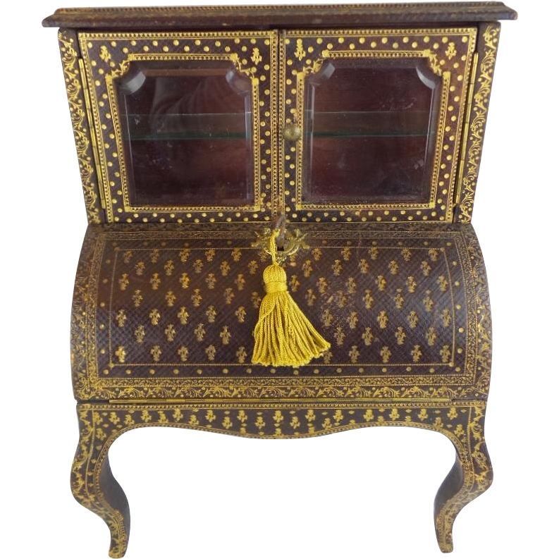 "Miniature Leather  Cabinet Desk  "" Stenciled Leather """