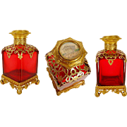 """Antique French Ruby Scent Bottle Miniature Top """"MAGNIFICENT & BIG"""""""