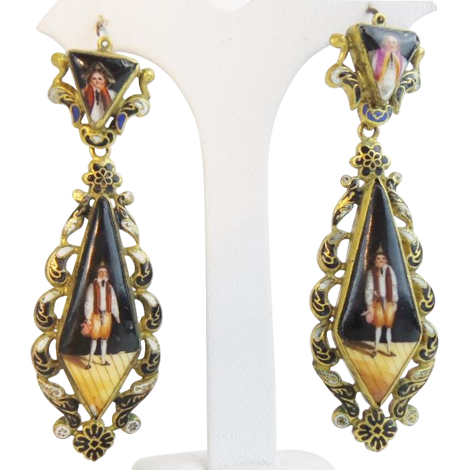 "Hand Painted Porcelain Enamel Earrings ""Hand Painted Figural Porcelain"""