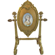 "Antique French Hand painted Portrait ""Bronze Ornate Frame Stand""  GLORIOUS"""