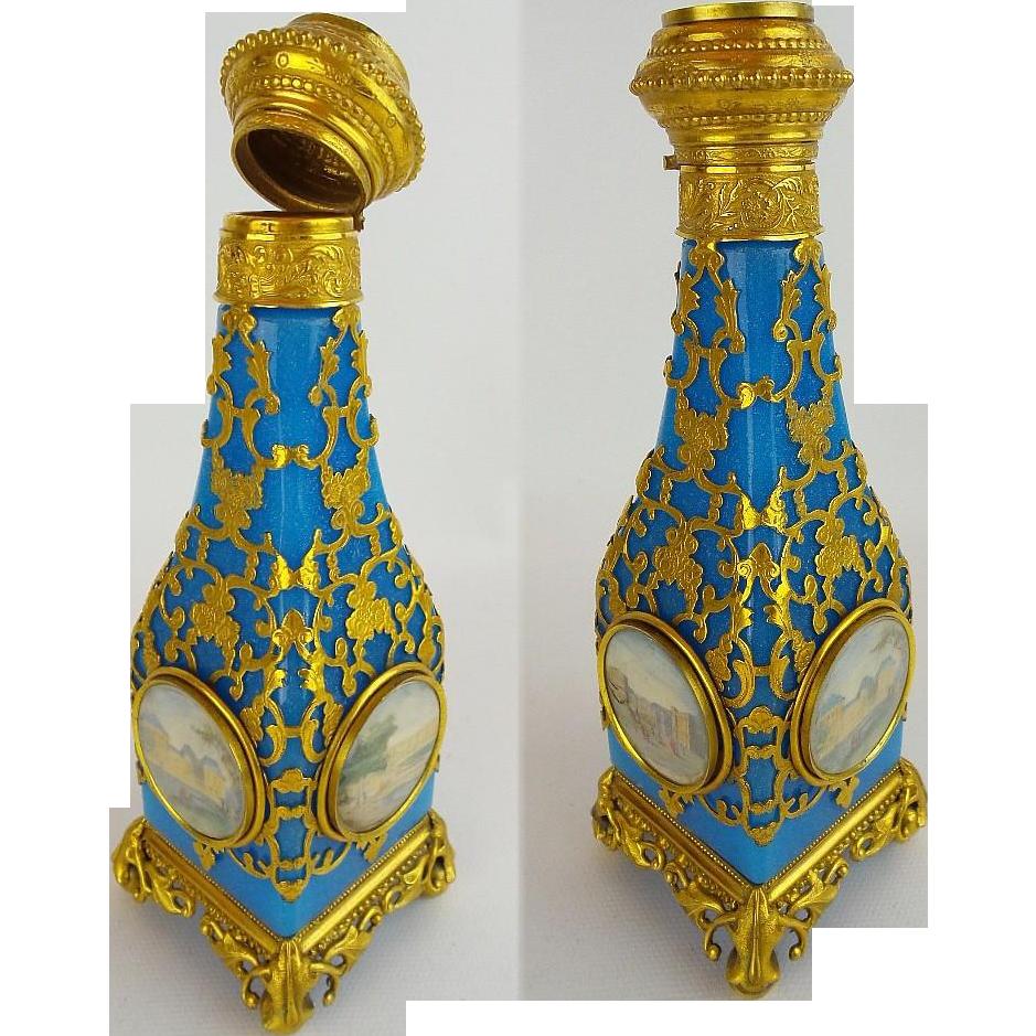 "Napoleon  III Blue Opaline Perfume "" FIVE MINIATURES"""