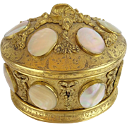 "Antique French Gilt Bronze Mother of Pearl Casket Hinged Box ""14 Mother of Pearl Plaques """