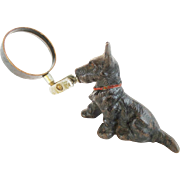 """Antique Painted Iron DOG Magnifying Glass Paper Weight """"SCOTTIE  TERRIER"""""""