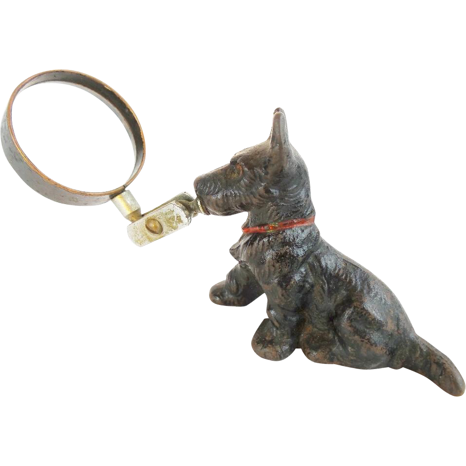 "Antique Painted Iron DOG Magnifying Glass Paper Weight ""SCOTTIE  TERRIER"""