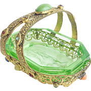 "1920 Czech Jeweled Miniature Basket  ""Green Glass Insert"""