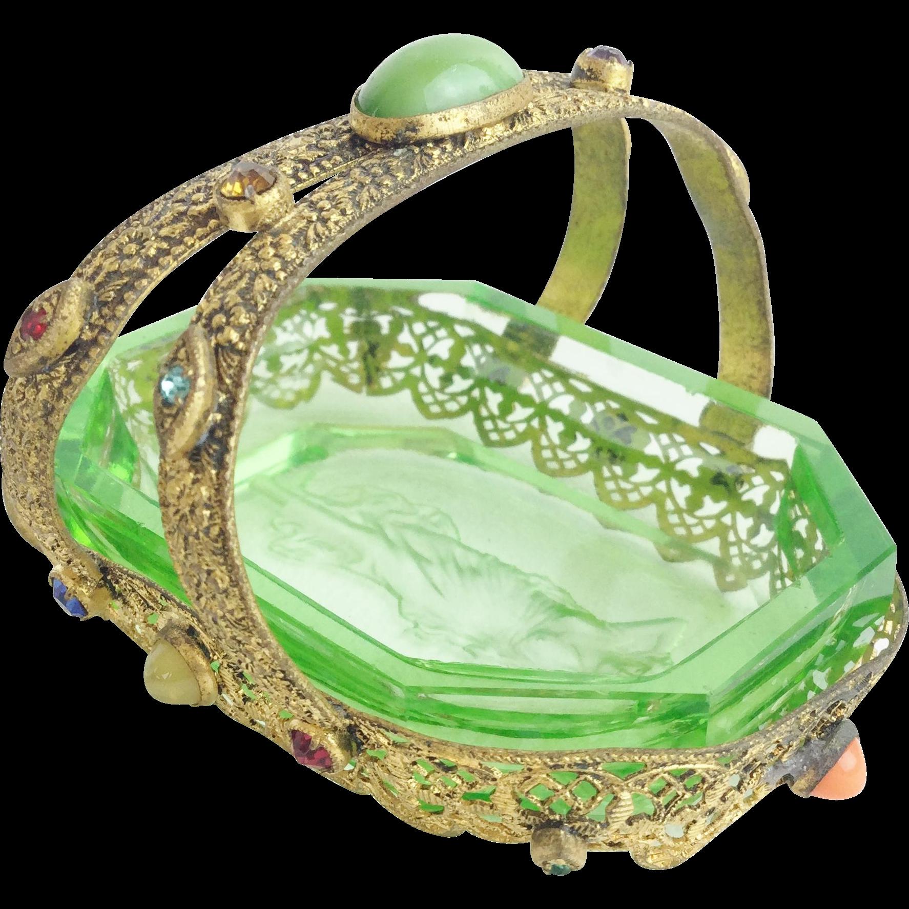"""1920 Czech Jeweled Miniature Basket  """"Green Glass Insert"""""""