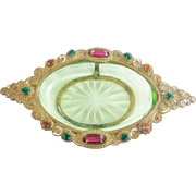Czech Jeweled Miniature Dish wGreen Glass Insert