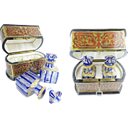 """Antique Boulle Perfume Box """"RARE Baccarat Blue Cut to Clear  Bottles"""""""