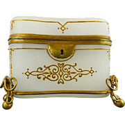"Antique French White Opaline Double Handle Casket  ""Rare Cameo & Gilt Bow Footed Base"""