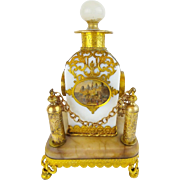 "Palais Royal  Opaline ""Eglomise"" Perfume in Ornate Holder"