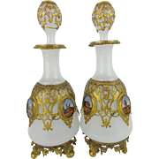 "PAIR Napoleon III   White Opaline ""EGLOMISE"" Perfume "" Beautiful Gilt Ormolu"""