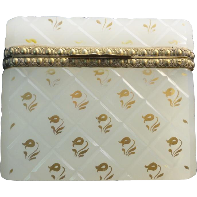 """Antique French White Opaline Casket Hinged Box """"SPECIAL GILDING"""""""
