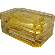 """Vintage Italian Murano Yellow Etched Hinged Box """"AWESOME LEMON GLASS"""""""