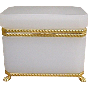 "Antique French  White Opaline Casket  ""GRANDEST PAW FEET & MOUNTS"""