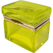 "Antique French Yellow Crystal Hinged Box ""YUMMY YELLOW"""