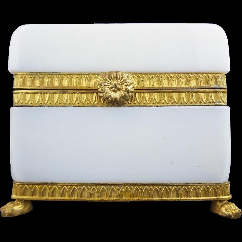 "Antique French White Bulle de Savon Opaline Casket Hinged Box ""PAW FEET"""