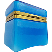 "Italian Murano Blue Hinged Box Casket  'TERFFIC BLUE"""