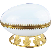 "Antique French White Bulle de Savon Opaline Hinged Box  ""FABULOUS GILT LEAF BASE"""