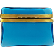 Pretty Italian Murano Blue Hinged Box Casket Hinged Box