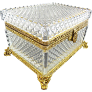 "Estate Vintage Cut Crystal Hinged Box  'AWESOME FOOTED BASE""    #1"
